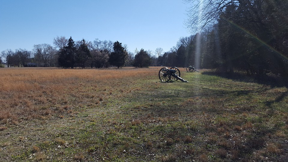 Cannons mark the edge of one of the fields through which Confederate troops advanced.