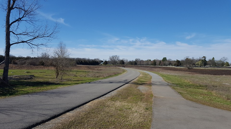 A road and pedestrian path wind through the cotton field - the scene of the last Confederate assaults on December 31st- the Union had dug in along the turnpike, the position of which would be along the ride side of this picture.