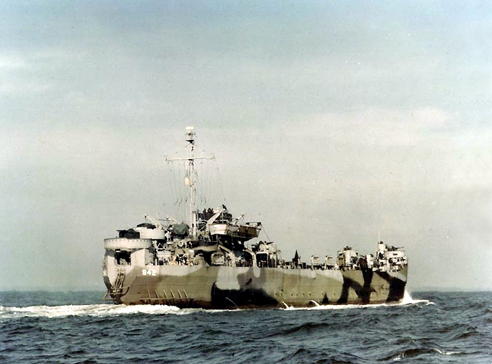 The USS LST-942 underway in late 1944. Photo source: Wikipedia.