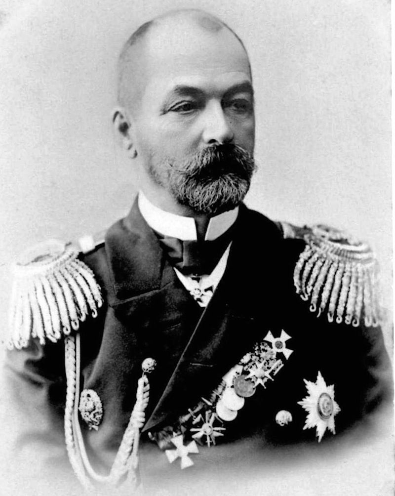 THE COMMANDER OF THE RUSSIAN FLEET AT THE BATTLE OF TSUSHIMA, ADMIRAL ZINOVY ROZHESTVENSKY. BORN ON NOVEMBER 11, 1848 IN ST. PETERSBURG, RUSSIA, ROZHESTVENSKY ALSO JOINED THE NAVY AT AN EARLY AGE. HE SAW ACTION DURING THE RUSSO-TURKISH WAR (1877-1878), AND AFTERWARDS WAS PROMOTED TO VARIOUS COMMANDS BEFORE BEING APPOINTED COMMANDER OF THE BALTIC FLEET IN 1904. ROZHESTVENSKY COMMANDED HIS FLEET ON ITS ILL-FATED VOYAGE TO THE PACIFIC FROM 1904-1905. FOLLOWING HIS THE DISASTER THAT BEFELL HIS SHIPS AT TSUSHIMA, HE WAS HELD PRISONER AND RELEASED AT THE CONCLUSION OF THE WAR. ON HIS RETURN TO RUSSIA, HE WAS COURT-MARTIALED FOR HIS DEFEAT AND FOUND GUILTY, THOUGH THE TSAR WOULD COMMUTE HIS SENTENCE OF EXECUTION TO A SHORT STINT IN PRISON. HE DIED OF A HEART ATTACK ON JANUARY 14, 1909. PHOTO: WIKIPEDIA.
