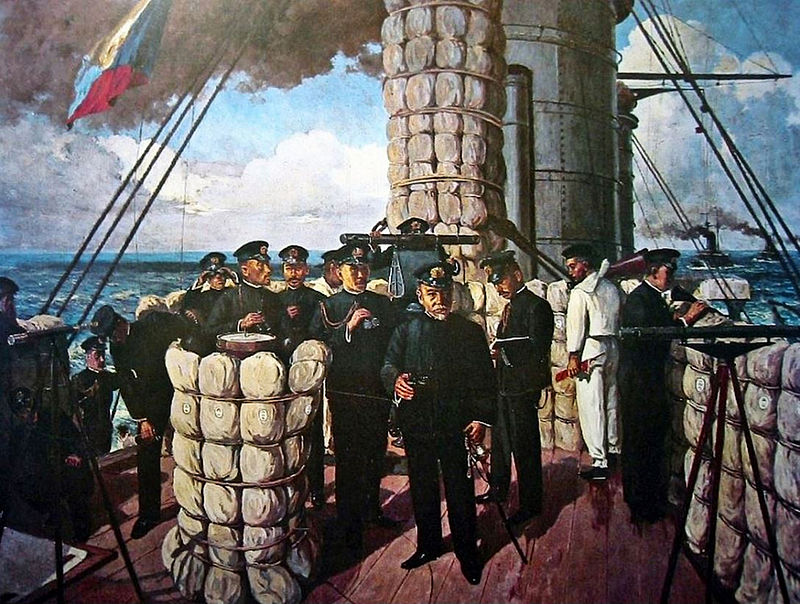 Admiral Togo on the bridge of the Mikasa during the Battle of Tsushima. The original painting now hangs in the lower deck of the Mikasa. Photo source: Wikipedia.