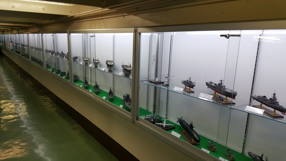 Along one of the side corridors of the Mikasa's lower deck is this gallery, which is comprised of models representing many classes of ships and aircraft which have served in the Imperial Japanese Navy and Japanese Self-Defense Forces. Photo: author.