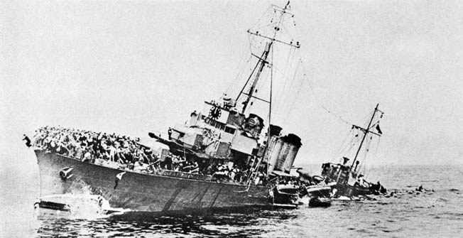 The French destroyer Bourrasque sinks after striking a mine on 30 May after having taken on a load of soldiers, who are now seen jumping overboard. Photo source: Warfare History Network.