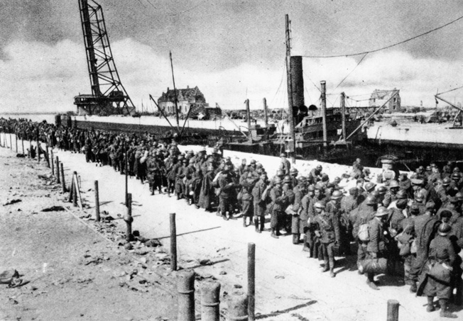 Not all soldiers were successfully evacuated from Dunkirk. Some 40,000 French soldiers, left behind as a rearguard to hold off the Germans, were captured when the Wehrmacht finally overran the port. Photo source: Warfare History Network.