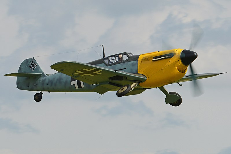 "Though there are a number of Me-109s that remain airworthy, none are the correct version that would have been flying in 1940. As a result, Nolan used a Hispano Ha 1112 ""Buchon"" as a substitute. This aircraft is a post-war design based on the airframe of the Me-109 paired with the engine of the Spitfire. Buchons have been used as Me-109 stand-ins in film before, most notably in the 1968 film ""Battle of Britain."" Photo source: Wikipedia."