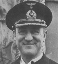 Captain Berhard Rogge, the commander of the Atlantis. Rogge began his service in the navy during the First World War. After surviving the sinking of the Atlantis, Rogge spent the rest of the war as a POW. Rogge was commended for his excellent treatment of prisoners he captured while commanding the Atlantis. After the war, Rogge served in the West German Navy, reaching the rank of Rear Admiral. He died in 1982. Photo source: bismarck-class.dk.