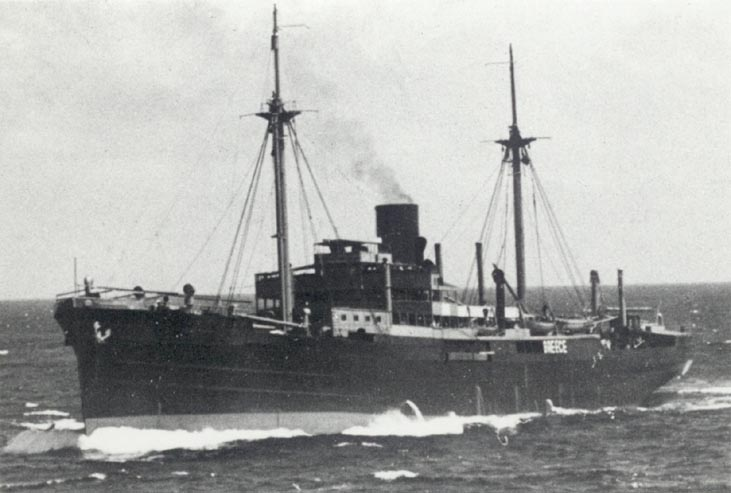 The Orion proceeding under disguise. A number of panels are visible along the side of the ship which would be dropped to reveal guns. Orion survived her cruise and made it nearly to the end of the war, only to be sunk by bombs in waters off Denmark on May 4, 1945. Photo source: bismarck-class.dk.