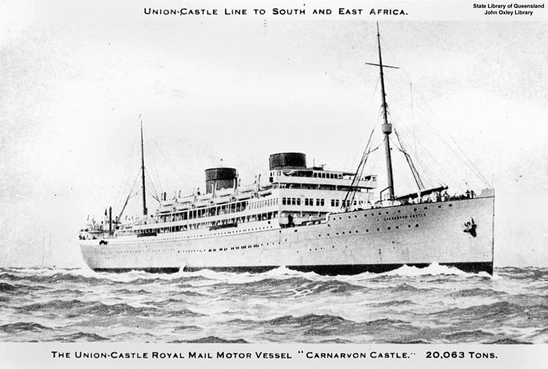 A prewar postcard of the Carnarvon Castle Heavily damaged by Thor, Carnarvon Castle was heavily damaged and had to make for Montevideo for repairs. Photo source: Wikipedia.