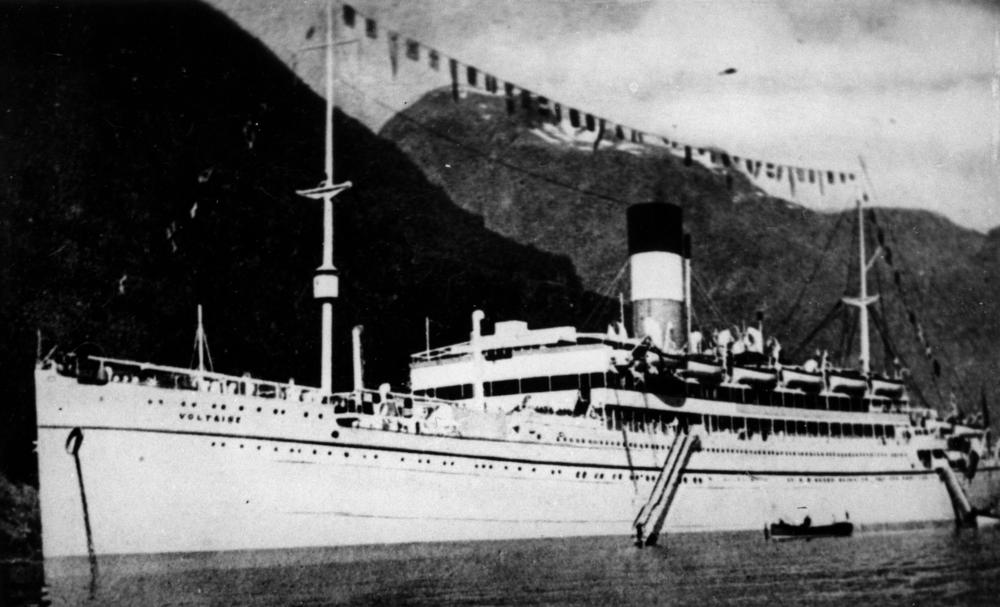 The AMC Voltaire, which was sunk during a battle with Thor in April 1941. 100 of Voltaire's crew were killed, but the surviving 196 were picked up by the German raider. Photo source:Wikipedia.
