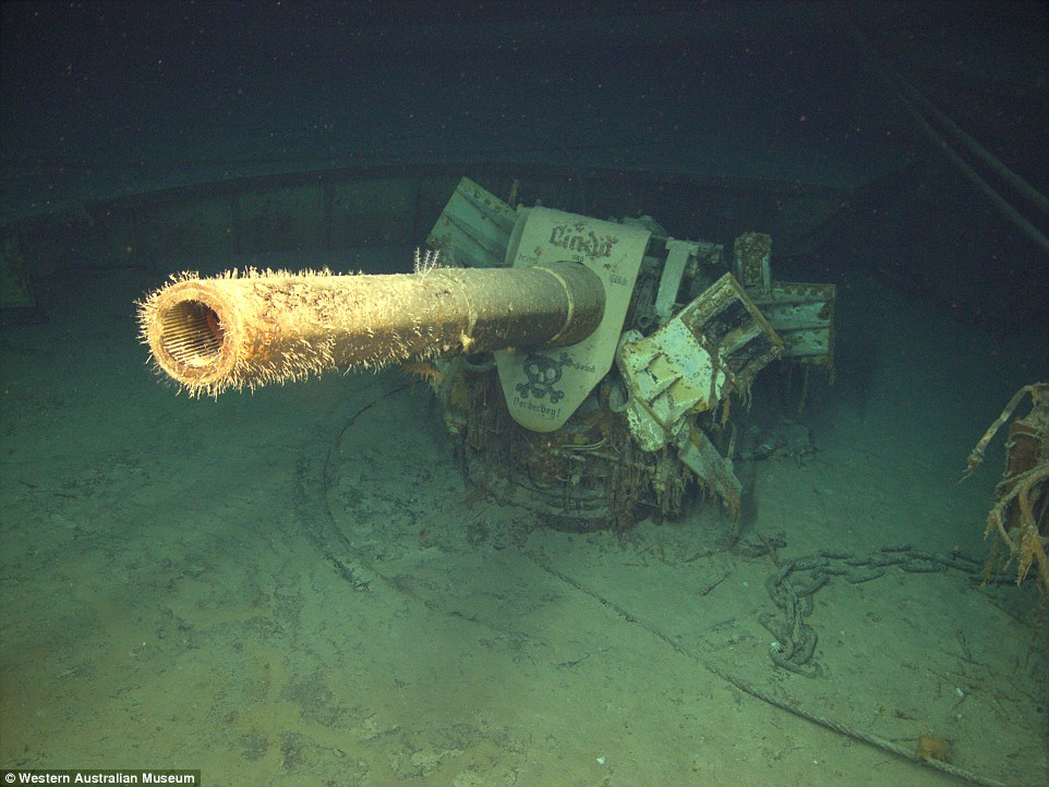 One of the Kormoran's 150mm guns as seen today on the ocean flow. Kormoran's wreck was discovered in 2008 at a depth of 8400 ft. Photo source: dailymail.uk.