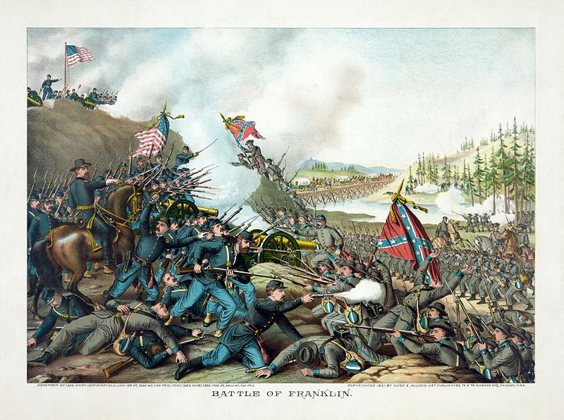A post-war illustration of the Battle of Franklin made by the Kurz & Allison company. Photo: Wikipedia.