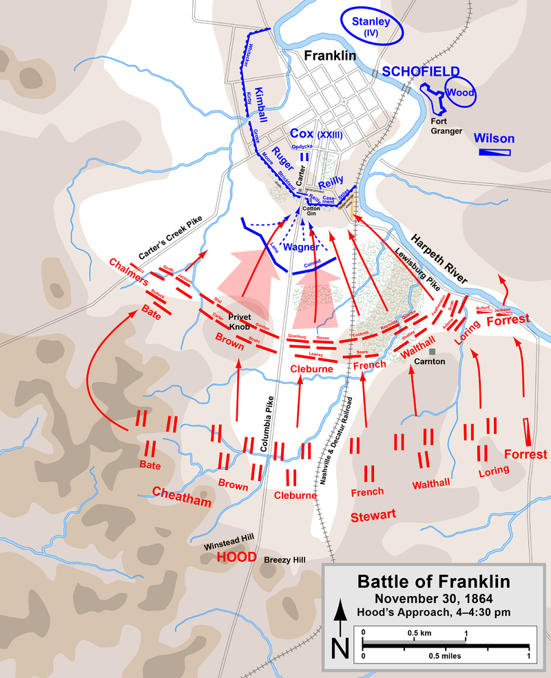 Hood's army begins its assault at 4PM, approaching from the south. Photo: Wikipedia.