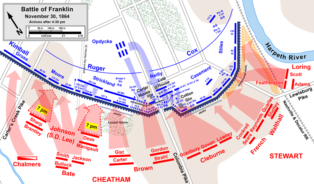 Hood's Army assaults the Union line from 5-9PM. Photo: Wikipedia.
