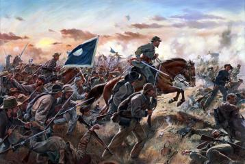 Major General Patrick Cleburne leads his men in the charge at Franklin. His horse was shot out from under him, and he would be last seen charging on foot, sword in hand. His body was later found just inside Union lines. Photo: Don Troiani.