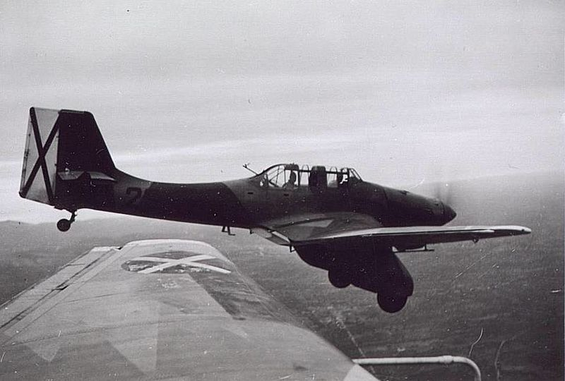 One of the early model Ju-87s flying above Spain. The large fairings and more slender fuselage of the early Stukas is evident in this picture. Source: Wikipedia.