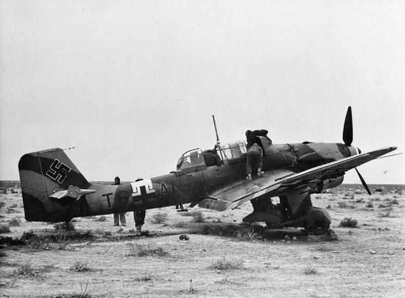 This Ju-87B-2 was captured by British forces in North Africa in 1941. Photo source: Wikipedia.