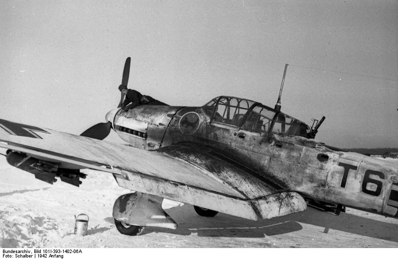 As the Russian campaign dragged on, Stukas were forced to weather Russia's extreme temperatures during winter. This whitewashed Stuka, stained with exhaust and oil from extensive use, would have often required burning an open fire beneath the engine to warm it enough to start. Photo: Wikipedia.