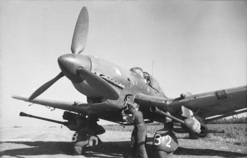 The Ju-87G-2, with its two 37mm cannons, was pressed into service to stop the flood of Soviet tanks. The armor piercing rounds, with a core of tungsten, were particularly effective. Photo source: Wikipedia.