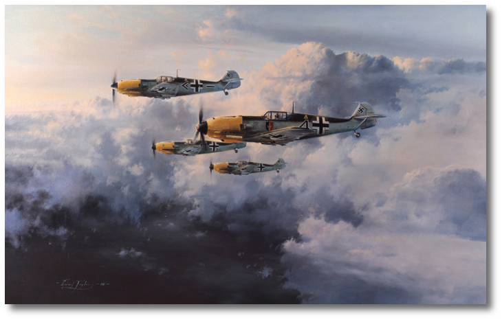 A Rotte of Bf-109E-4s from JG 52, possibly patrolling over the English Channel, probably during the summer of 1940. Painting by Robert Taylor.