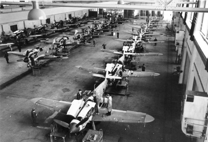 Bf-109G-6s under construction- the G-6 variant was the most numerous of the Gustavs. Photo source: Wikipedia.