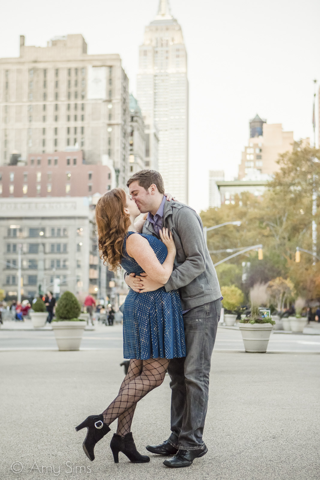 @Amy Sims Photography | New York Wedding Photography | Ashley & Nick | Madison Square Park | Fall Engagement | Empire State Building