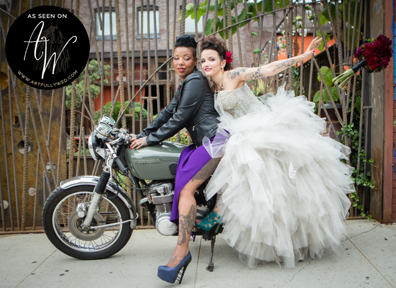 @Amy Sims Photography   New York Wedding Photography   Styled Rocker Shoot   Featured on Artfully Wed   Same sex couple on motorcycle