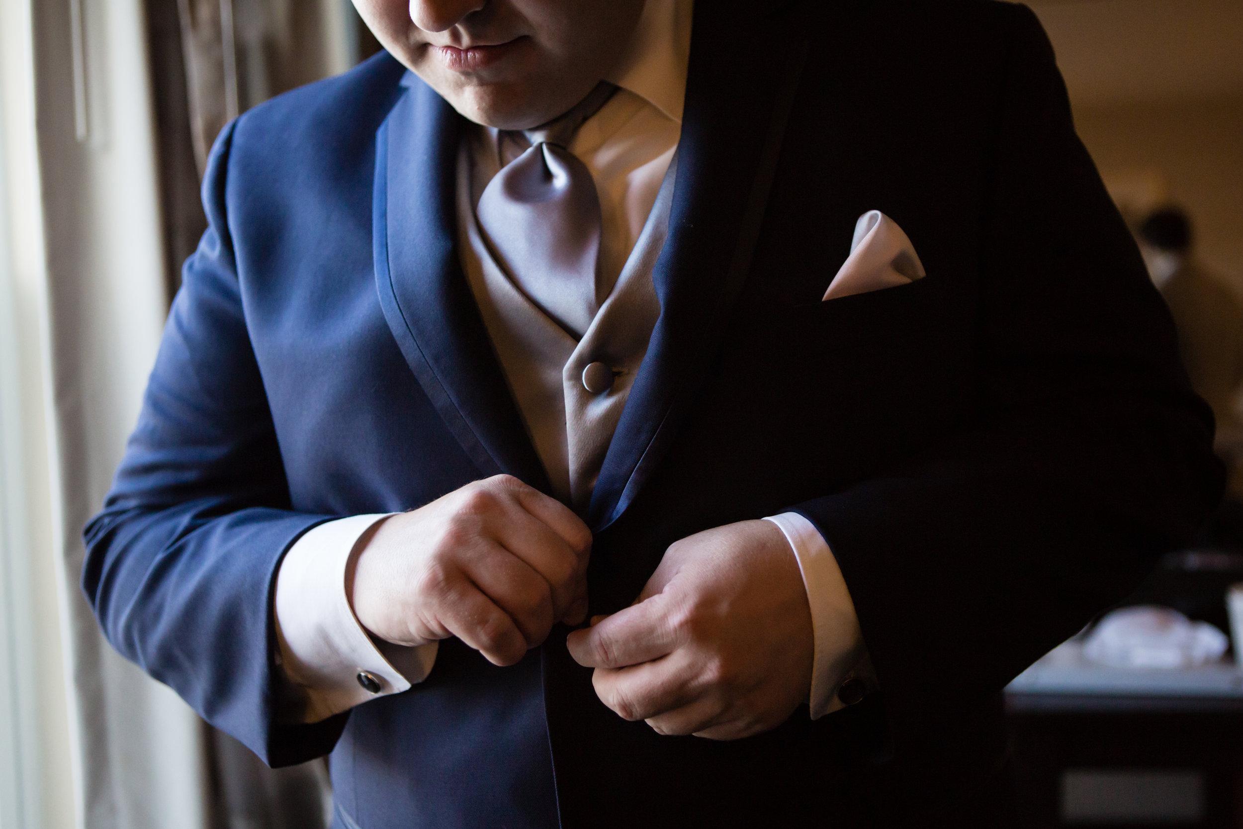 Groom buttons jacket New Rochelle wedding - New York wedding - Hudson Valley wedding - Heather & Ian's wedding - Amy Sims Photography