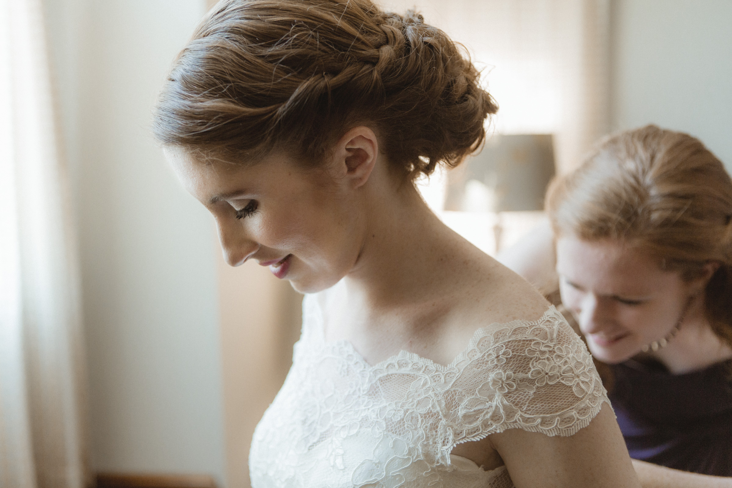 Bride puts on her gown - Estate at Florentine Gardens wedding - Hudson Valley Wedding - Kelsey & Anish's wedding - Amy Sims Photography