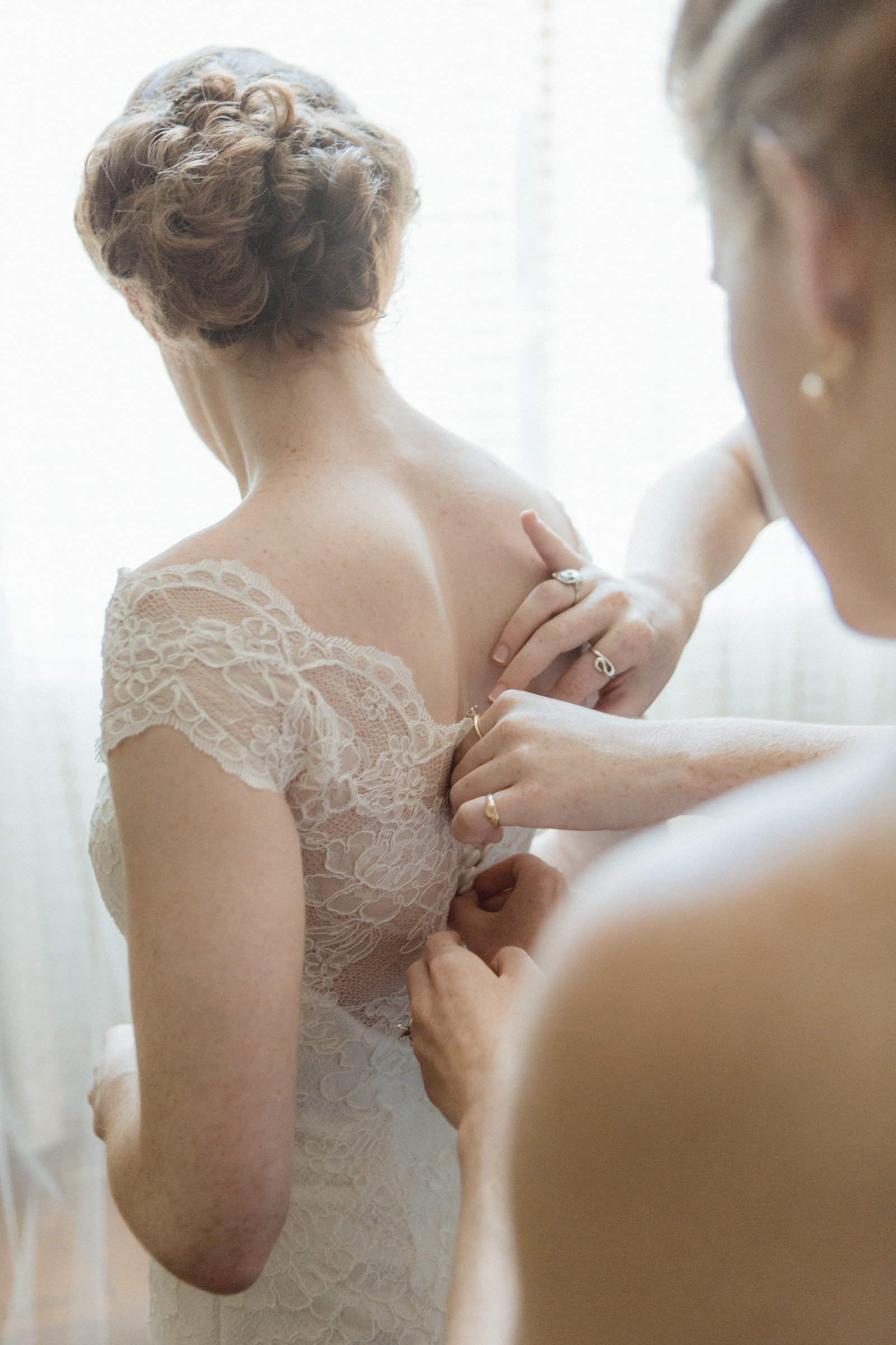 Bridemaids button up bride's gown - Estate at Florentine Gardens wedding - Hudson Valley Wedding - Kelsey & Anish's wedding - Amy Sims Photography