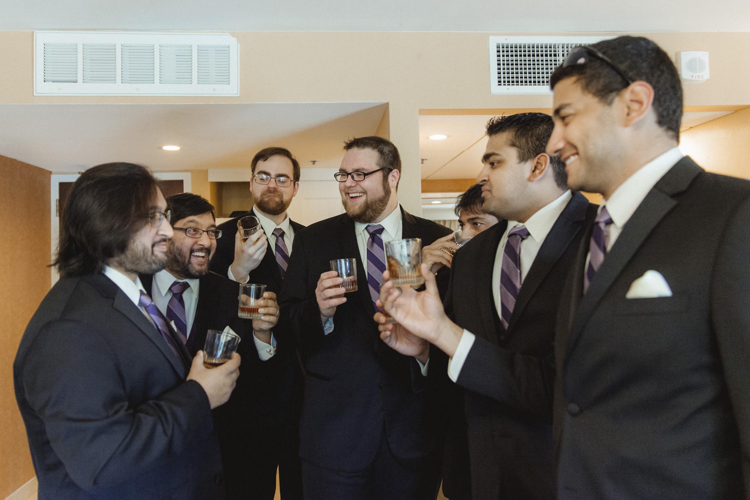 Groomsmen toast to the groom - Estate at Florentine Gardens wedding - Hudson Valley Wedding - Kelsey & Anish's wedding - Amy Sims Photography