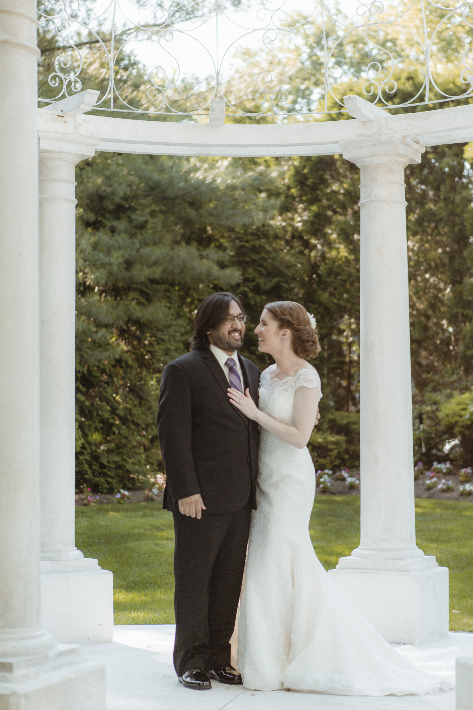 Couple laugh during their first look - Estate at Florentine Gardens wedding - Hudson Valley Wedding - Kelsey & Anish's wedding - Amy Sims Photography