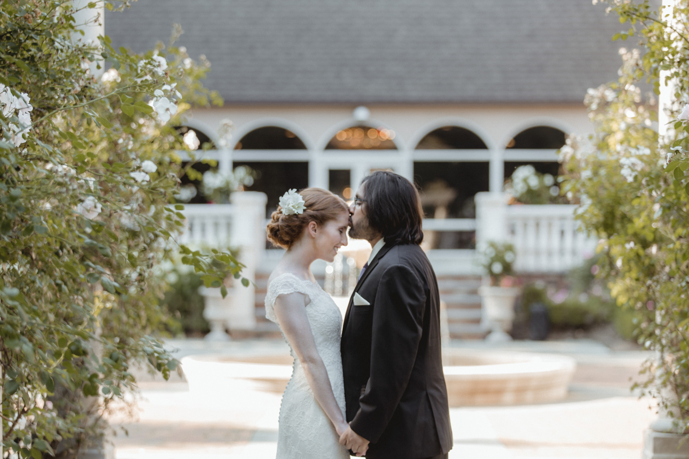 Groom kisses bride's forehead - Estate at Florentine Gardens wedding - Hudson Valley Wedding - Kelsey & Anish's wedding - Amy Sims Photography