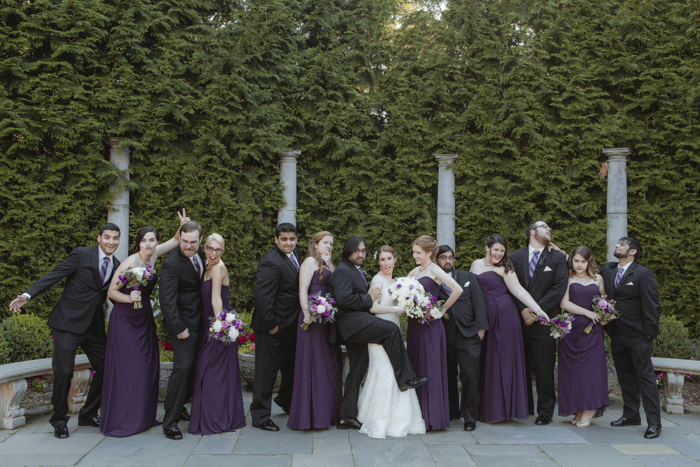 Silly wedding party wears black suits and purple Bill Levkoff gowns - Estate at Florentine Gardens wedding - Hudson Valley Wedding - Kelsey & Anish's wedding - Amy Sims Photography