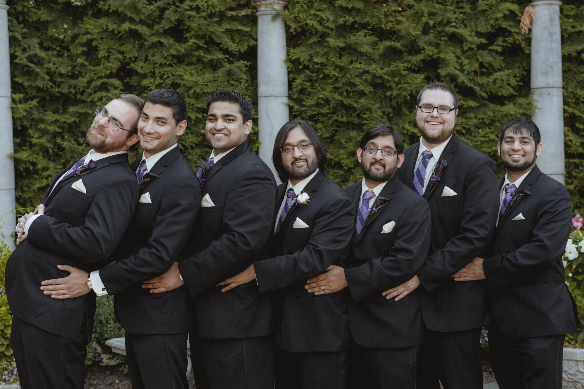 Groom and groomsmen do longest awkward prom photo pose - Estate at Florentine Gardens wedding - Hudson Valley Wedding - Kelsey & Anish's wedding - Amy Sims Photography