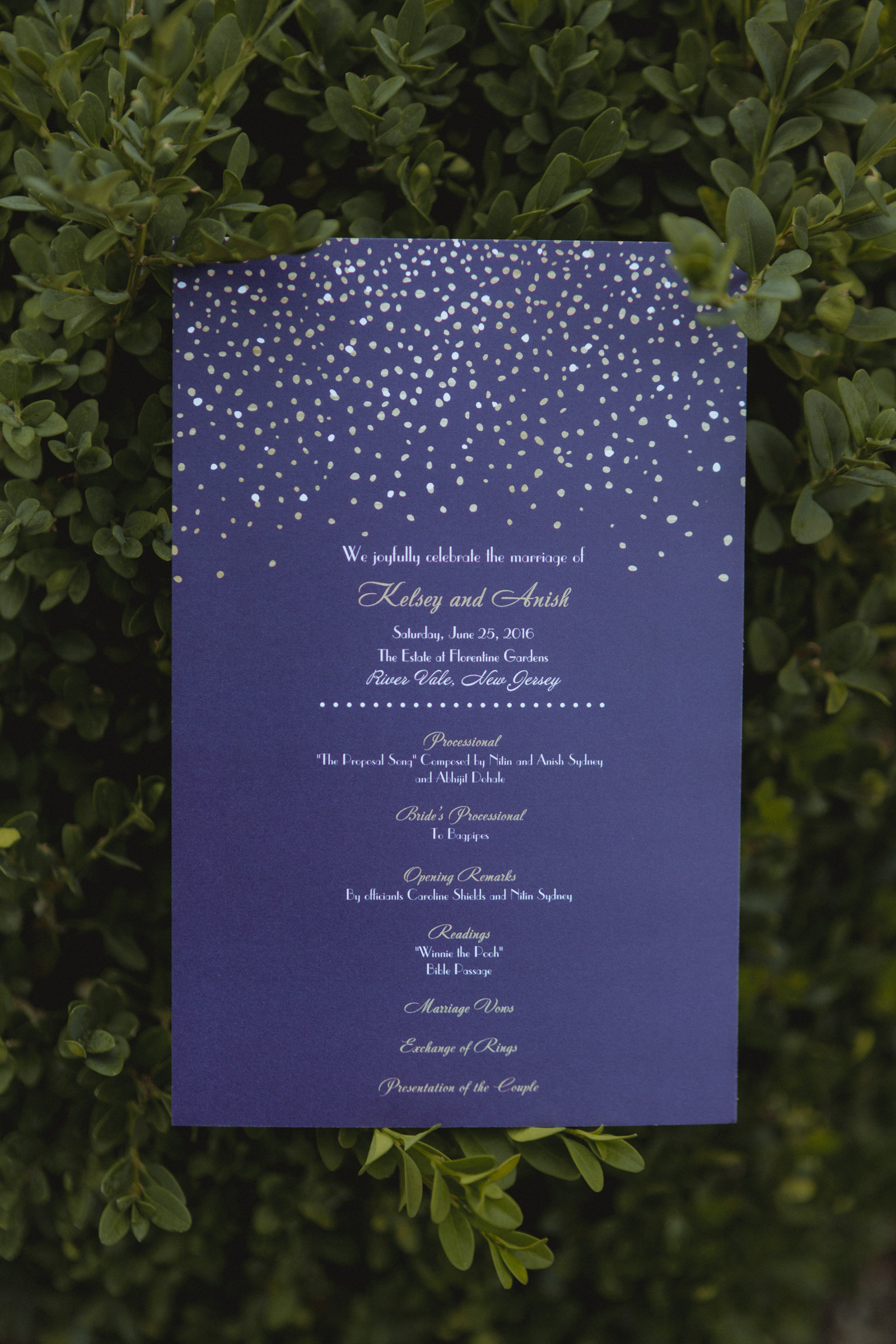 Detail photo of purple wedding program - Estate at Florentine Gardens wedding - Hudson Valley Wedding - Kelsey & Anish's wedding - Amy Sims Photography