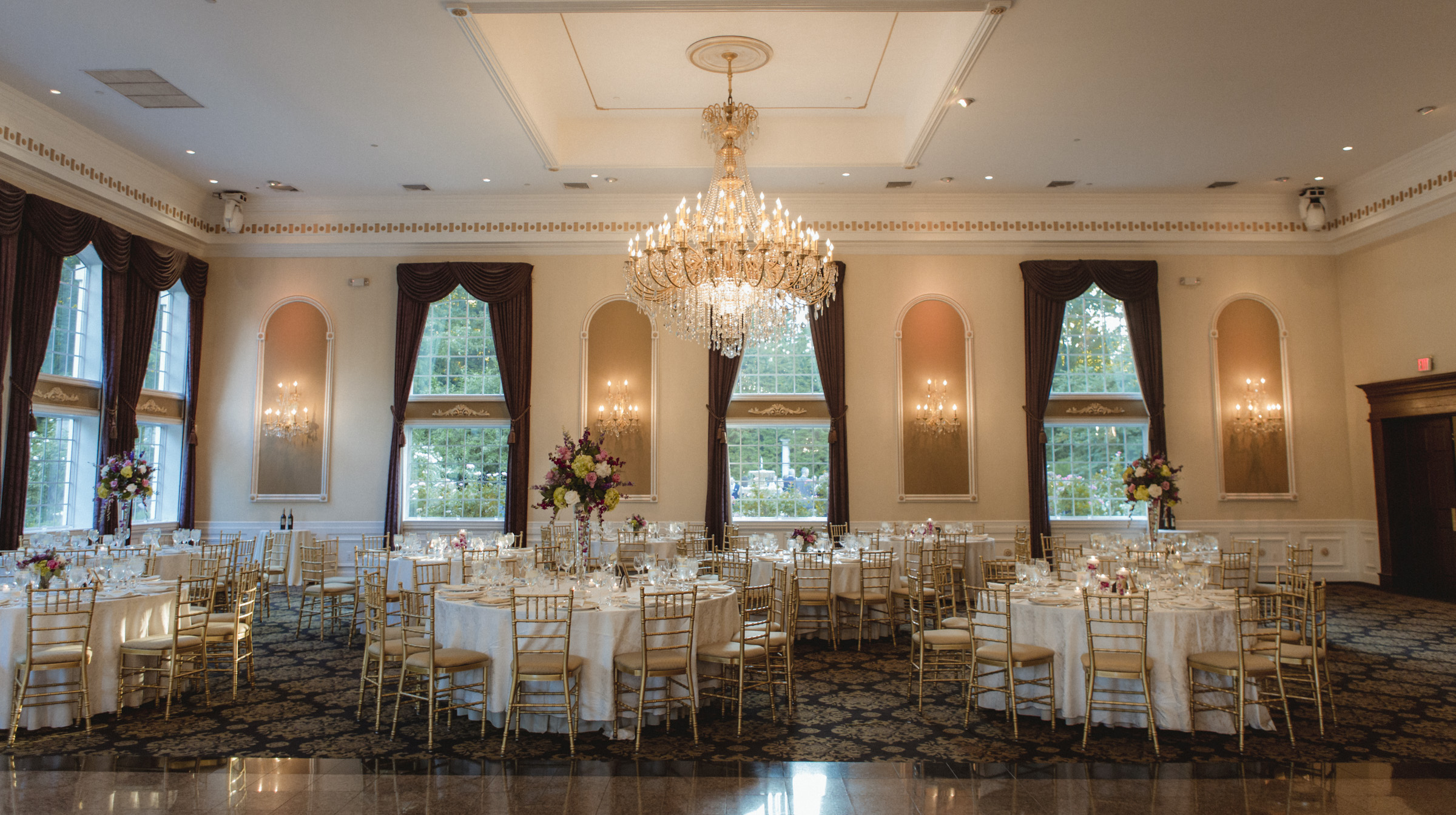 Gorgeous ballroom - Estate at Florentine Gardens wedding - Hudson Valley Wedding - Kelsey & Anish's wedding - Amy Sims Photography