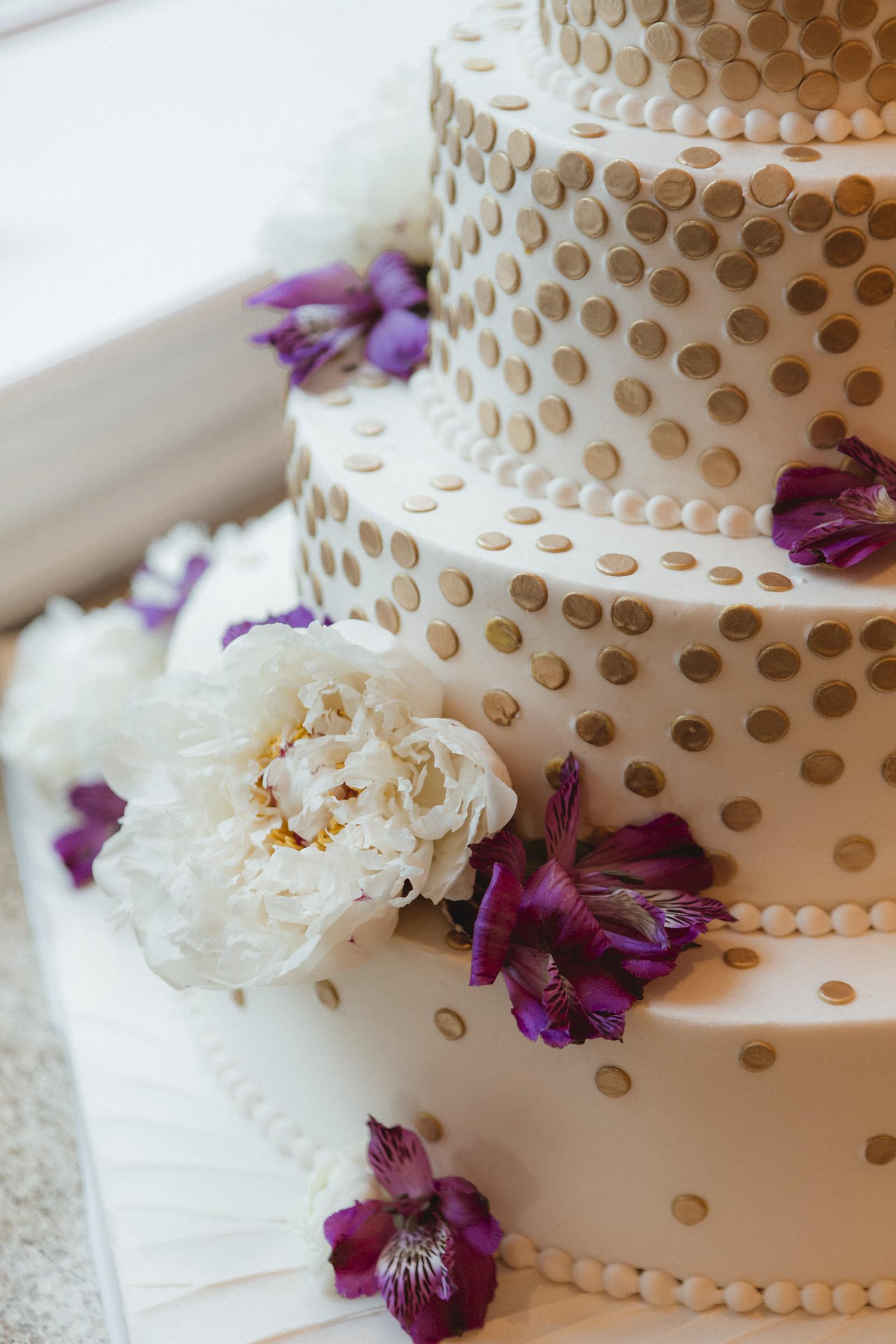 Gold polkadot cake from Palermo's - Estate at Florentine Gardens wedding - Hudson Valley Wedding - Kelsey & Anish's wedding - Amy Sims Photography