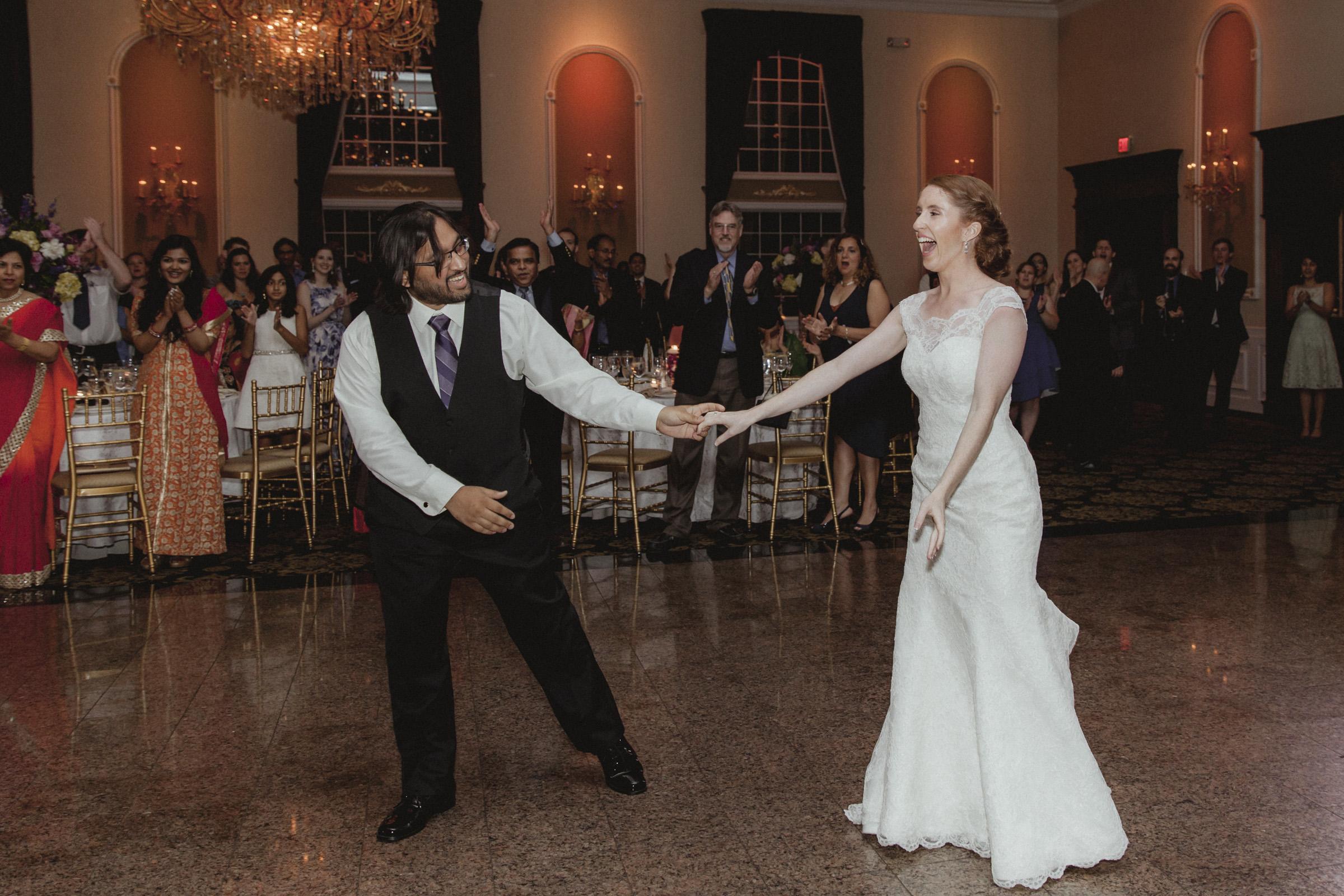 Bride and groom bow after their first dance - Estate at Florentine Gardens wedding - Hudson Valley Wedding - Kelsey & Anish's wedding - Amy Sims Photography