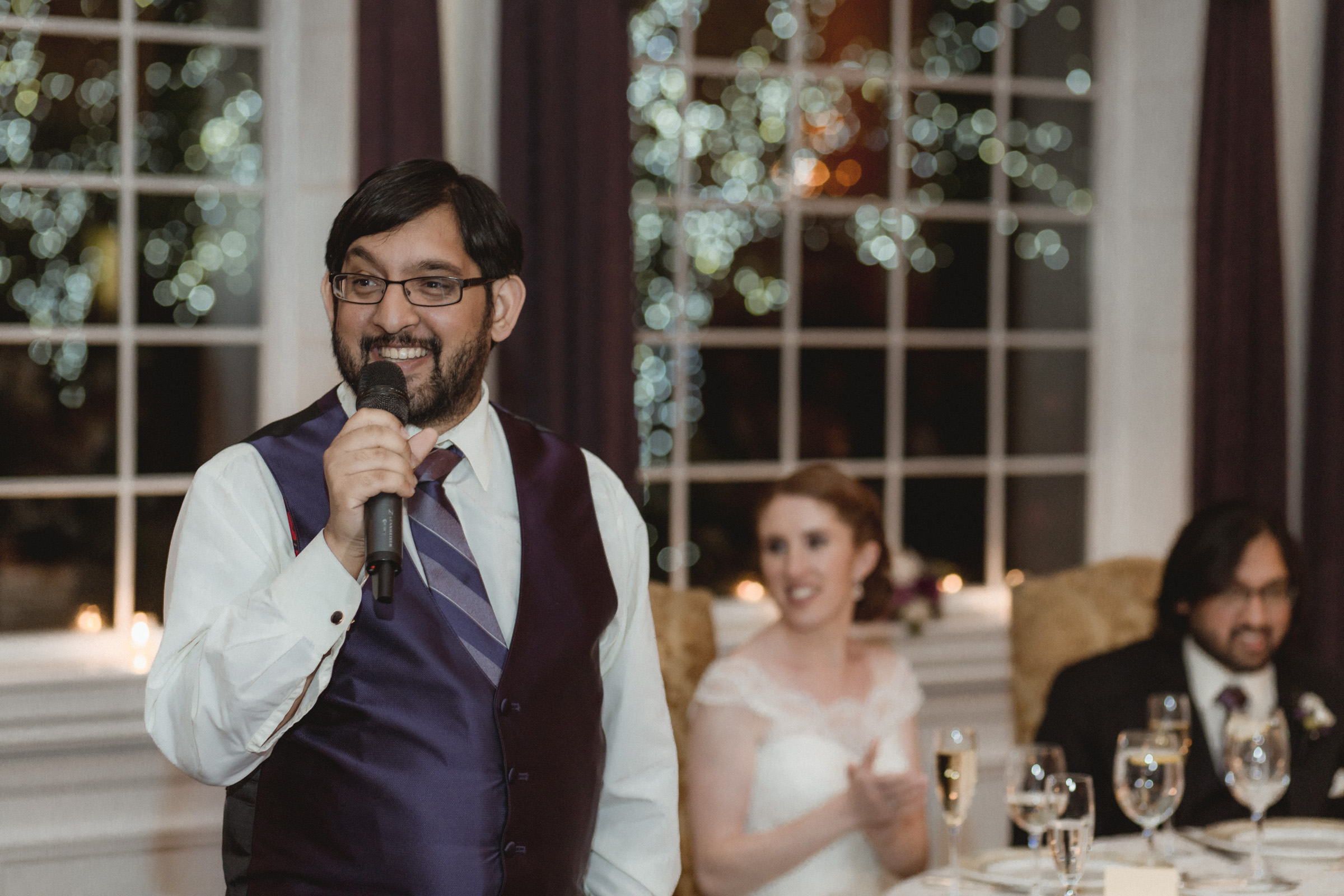 Best man gives his speech - Estate at Florentine Gardens wedding - Hudson Valley Wedding - Kelsey & Anish's wedding - Amy Sims Photography
