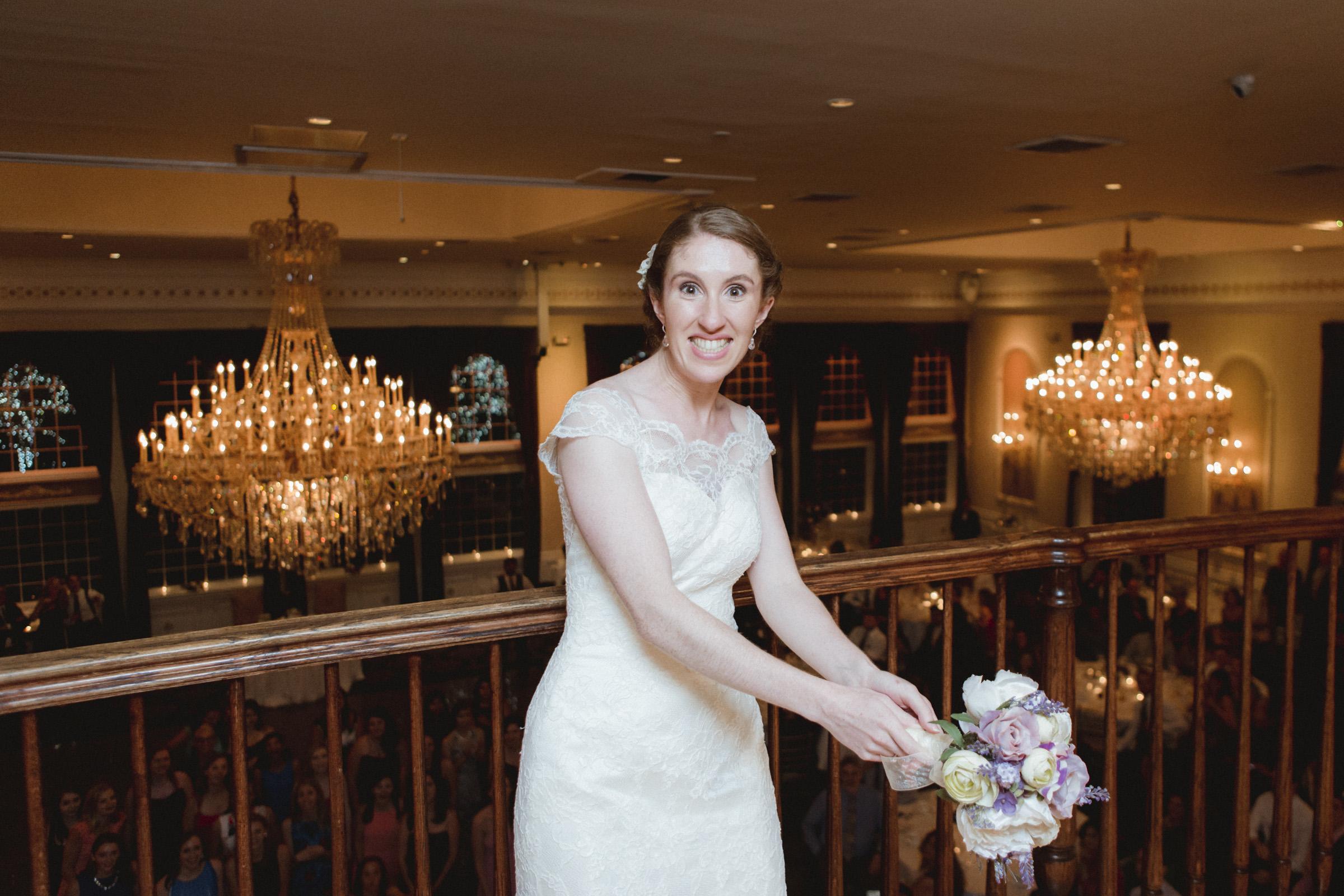 Bride prepares to throw her bouquet - Estate at Florentine Gardens wedding - Hudson Valley Wedding - Kelsey & Anish's wedding - Amy Sims Photography