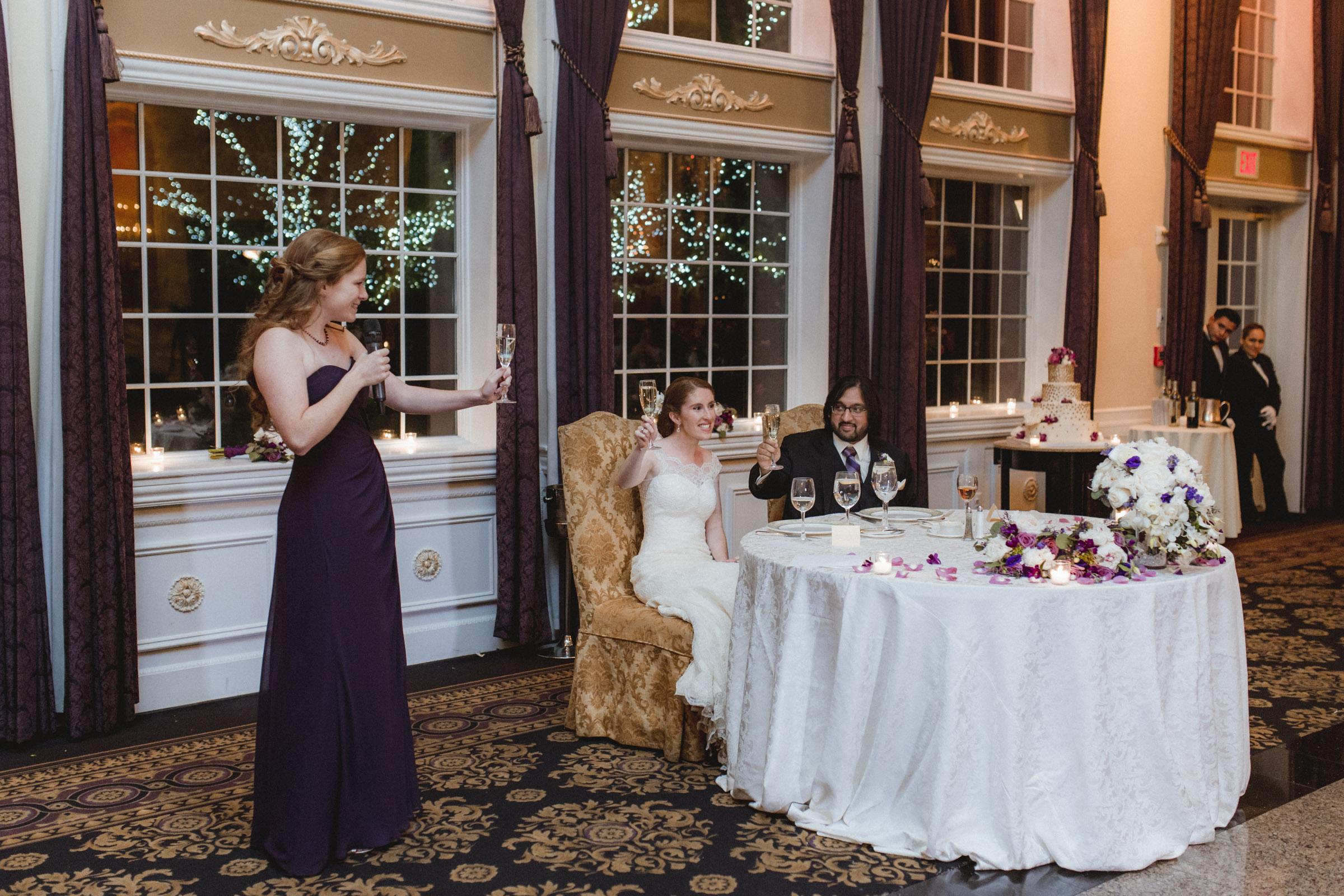 Maid of Honor toasts the newlyweds - Estate at Florentine Gardens wedding - Hudson Valley Wedding - Kelsey & Anish's wedding - Amy Sims Photography