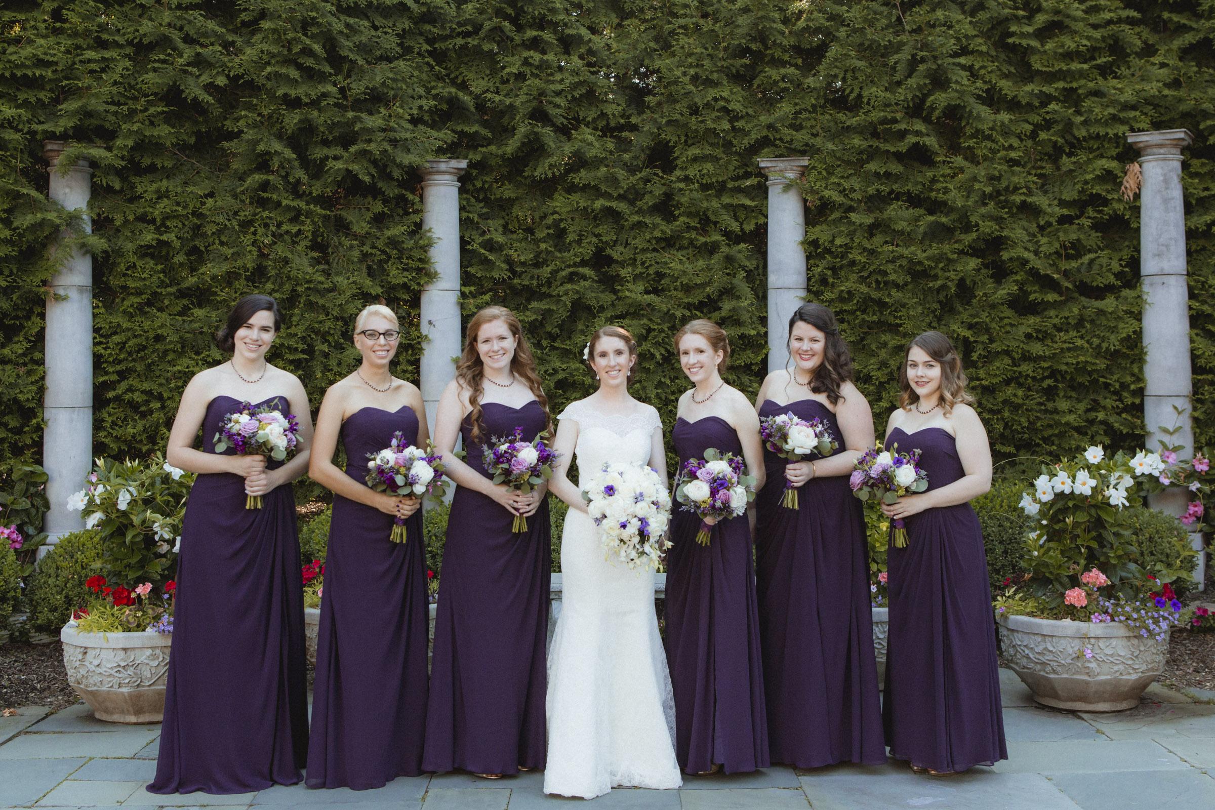 Bride wears lace, Augusta Jones gown, Bridesmaids wear floor length, purple, Bill Levkoff gowns - Estate at Florentine Gardens wedding - Hudson Valley Wedding - Kelsey & Anish's wedding - Amy Sims Photography