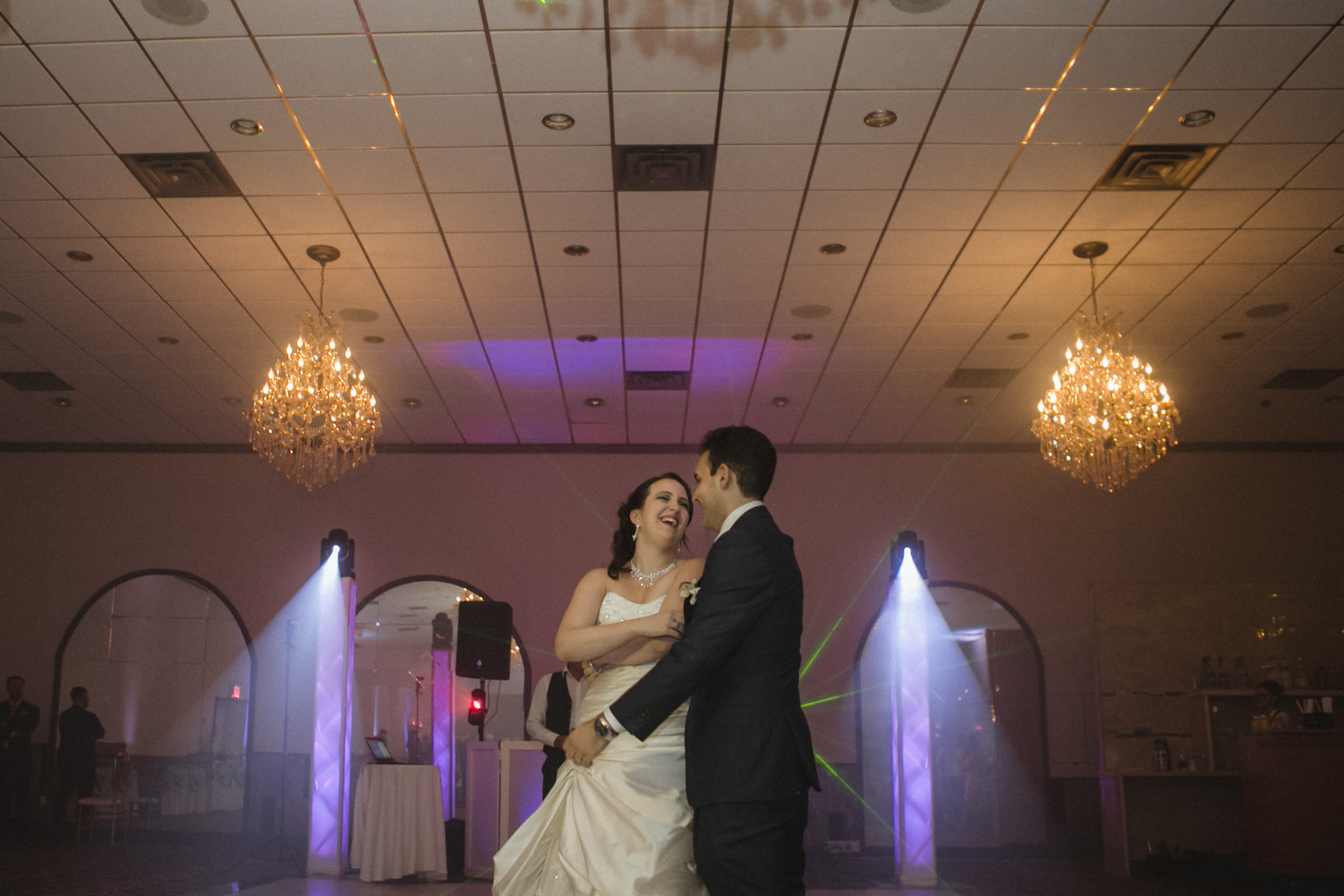 Couple laugh during first dance | Scavello's on the Island | Manhattan wedding | Bronx Wedding | Cathy & Antonello's wedding | Amy Sims Photography