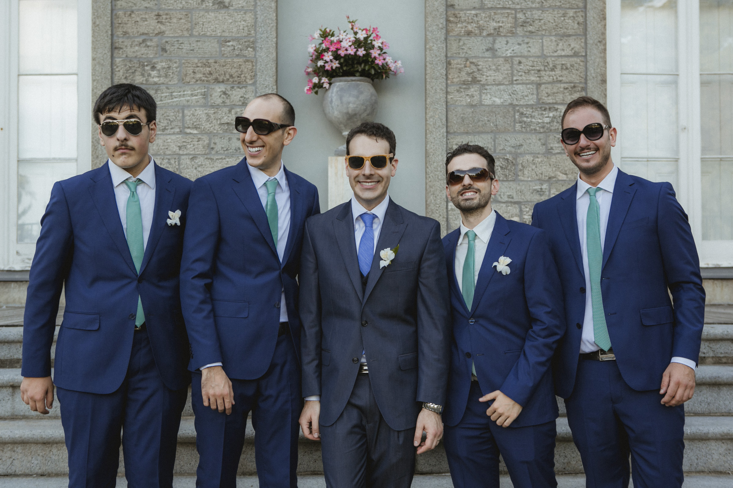 Stylish groomsmen sporting sunglasses, smiles and Sean John suits | Bartow-Pell Mansion wedding | Manhattan wedding | Bronx Wedding | Cathy & Antonello's wedding | Amy Sims Photography