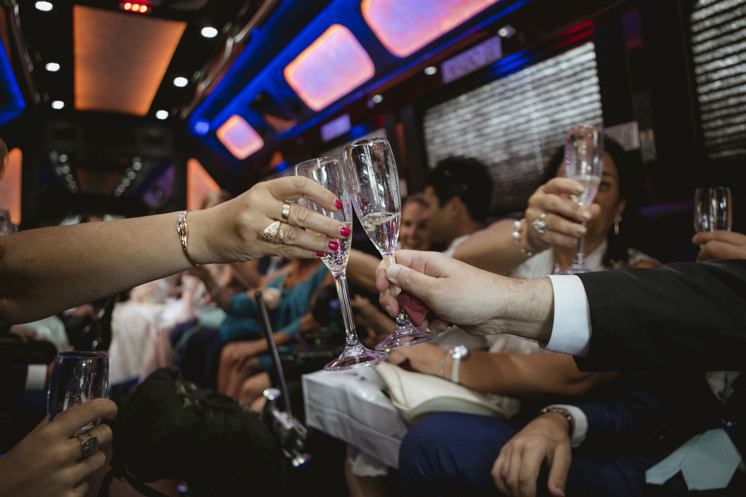 Toast in the party bus | Manhattan wedding | Bronx Wedding | Cathy & Antonello's wedding | Amy Sims Photography