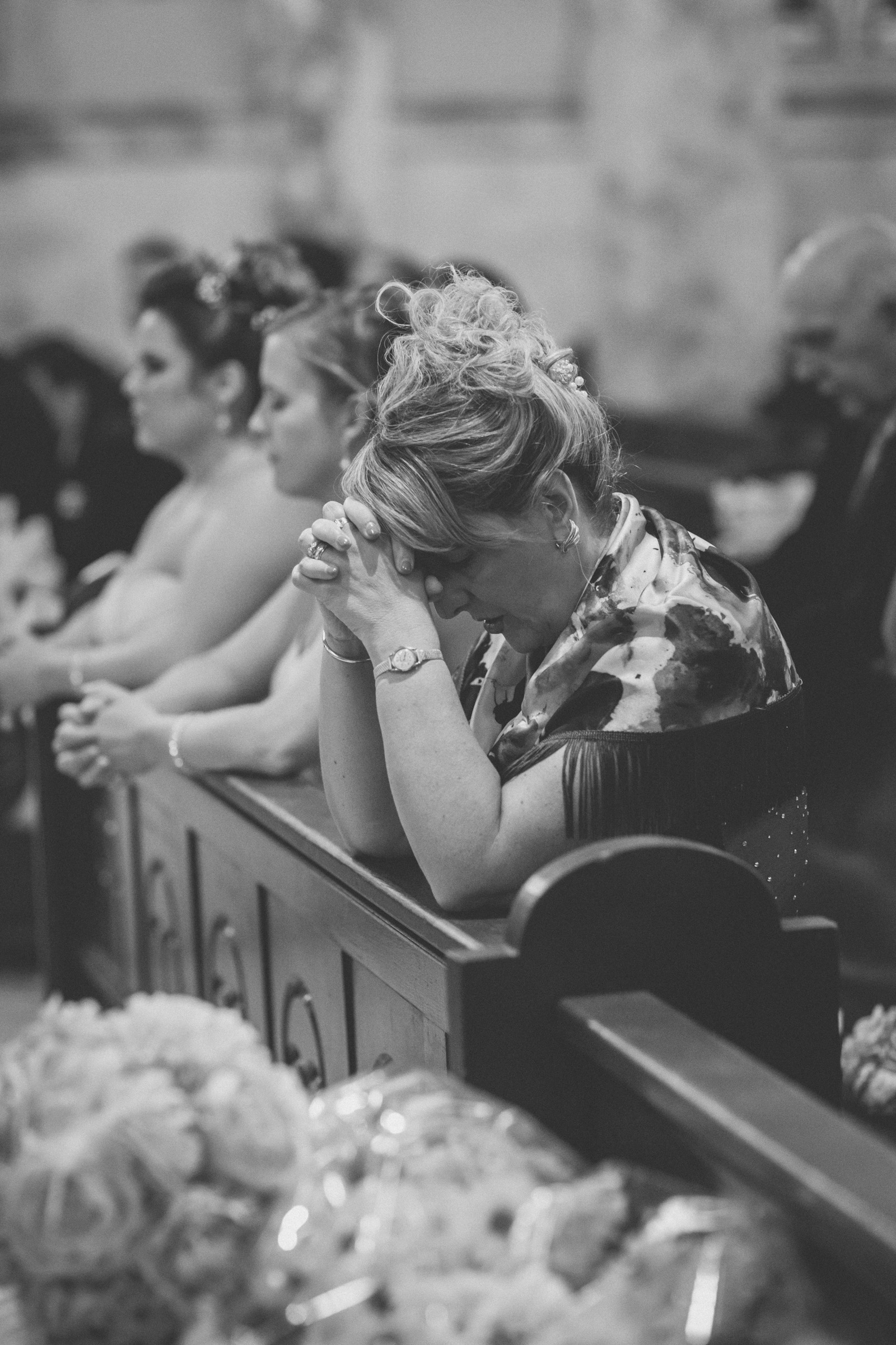Mother prays during ceremony | Our Lady of Pompeii wedding | Manhattan wedding | Bronx Wedding | Cathy & Antonello's wedding | Amy Sims Photography
