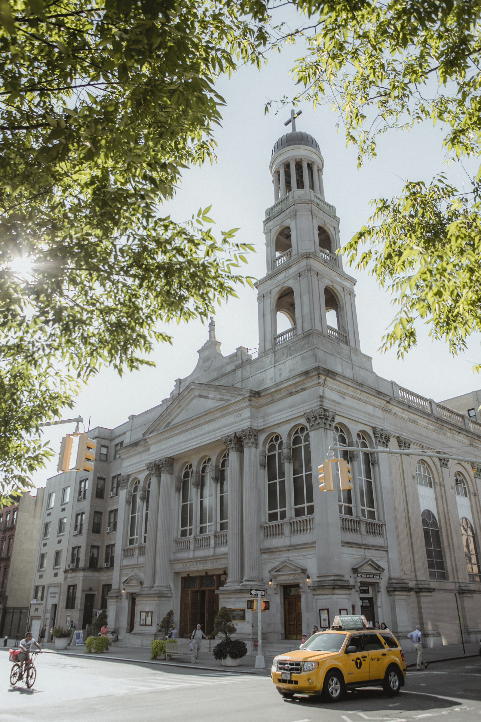 Exterior view of NYC church on a warm, August day| Our Lady of Pompeii wedding | Manhattan wedding | Bronx Wedding | Cathy & Antonello's wedding | Amy Sims Photography