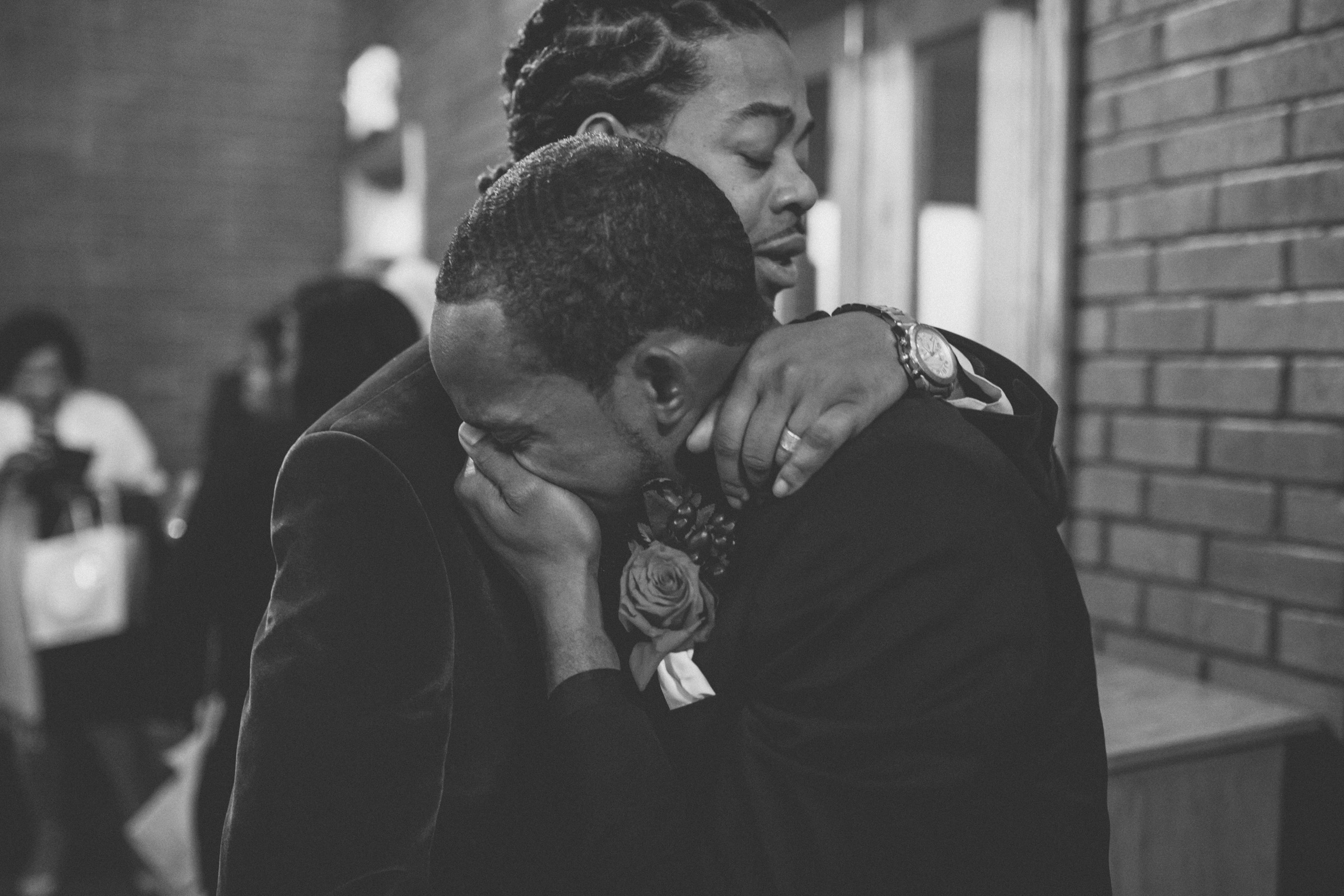 Amy Sims Photography | Groom cries as he hugs his new brother | Brooklyn Wedding Photographer | black and white photography