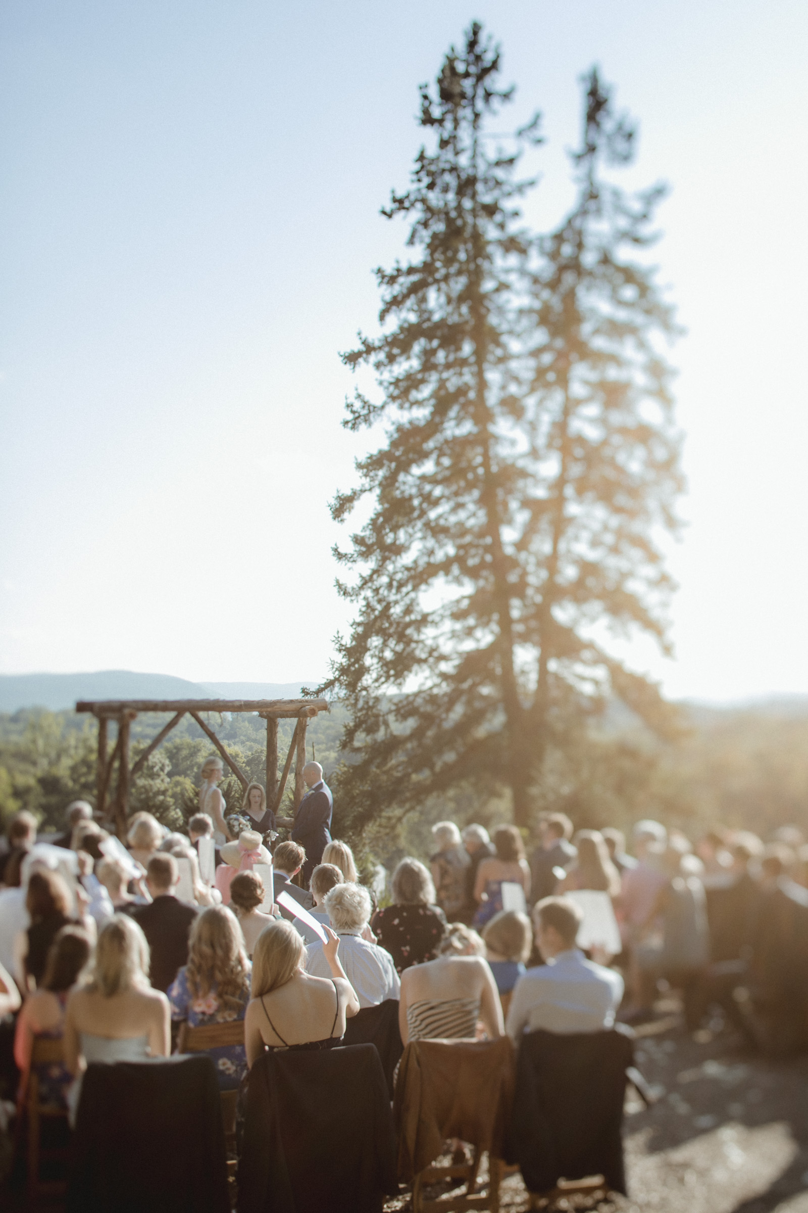 Amy Sims Photography | Ceremony at Emmerich Tree Farm on a gorgeous summer day | tilt-shift photography | Emmerich Tree Farm Wedding | black and white photography | Hudson Valley Wedding Photographer