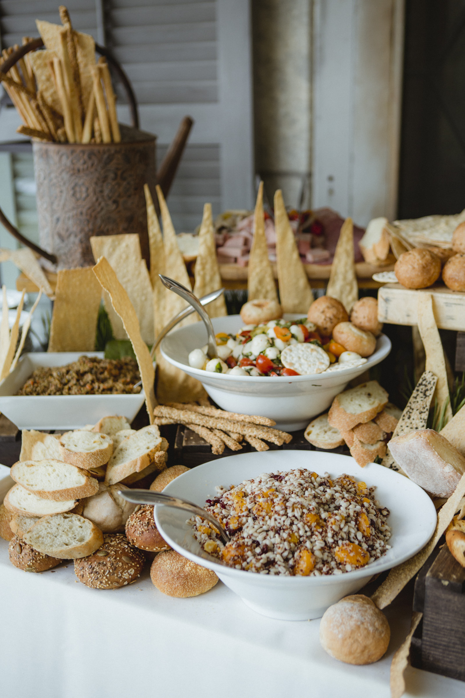 Amy Sims Photography | table of assorted bread at cocktail hour | Westchester Wedding Photographer | Lyndhurst Mansion Wedding
